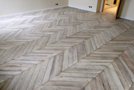 Parquet floor chevron in oak gray leached