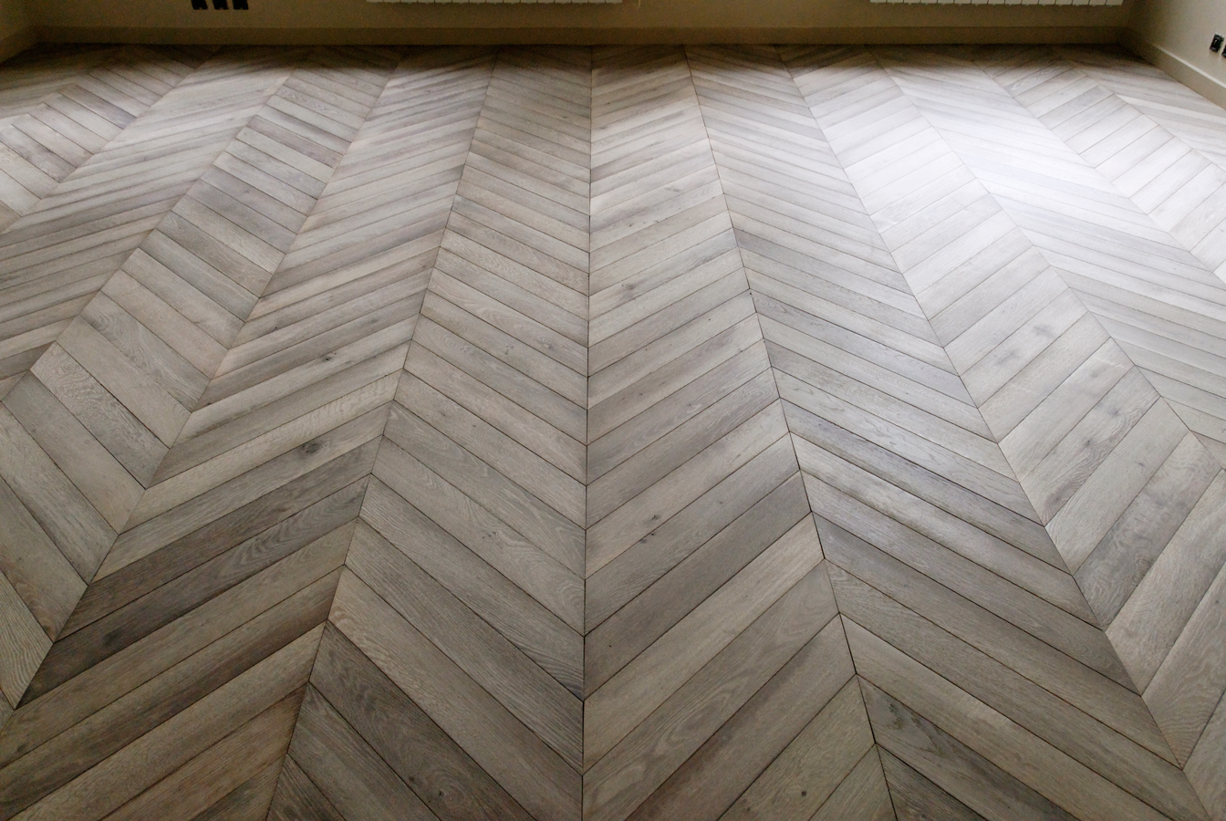 Oak Flooring Gray Leached Chevron Parquets De