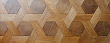 Parquet floor pattern weaving in oak
