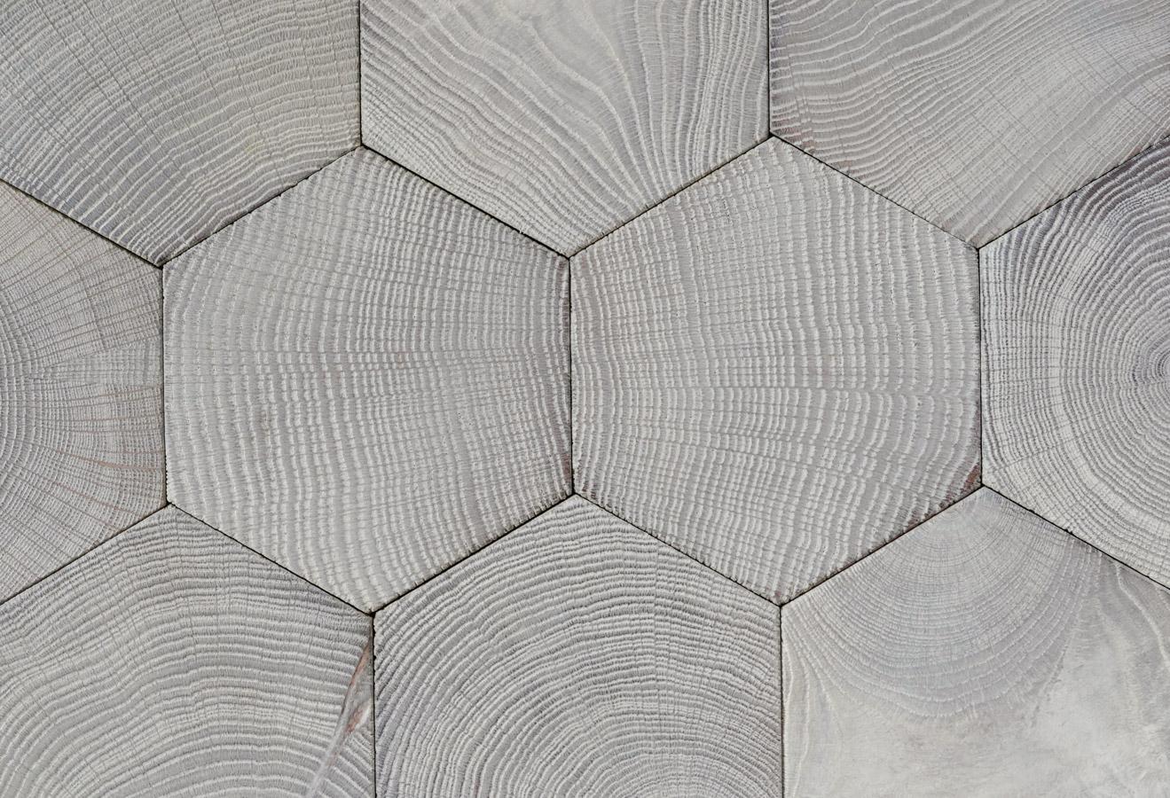 Parquet Floor Hexagon End Grain Wood Blocks In Oak Gray