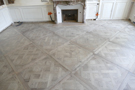 General view of Versailles parquet floor installed